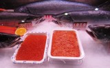 Alaskan salmon roe, here on display at the Brussels seafood show 2014, could be hard hit by Russia's food import ban